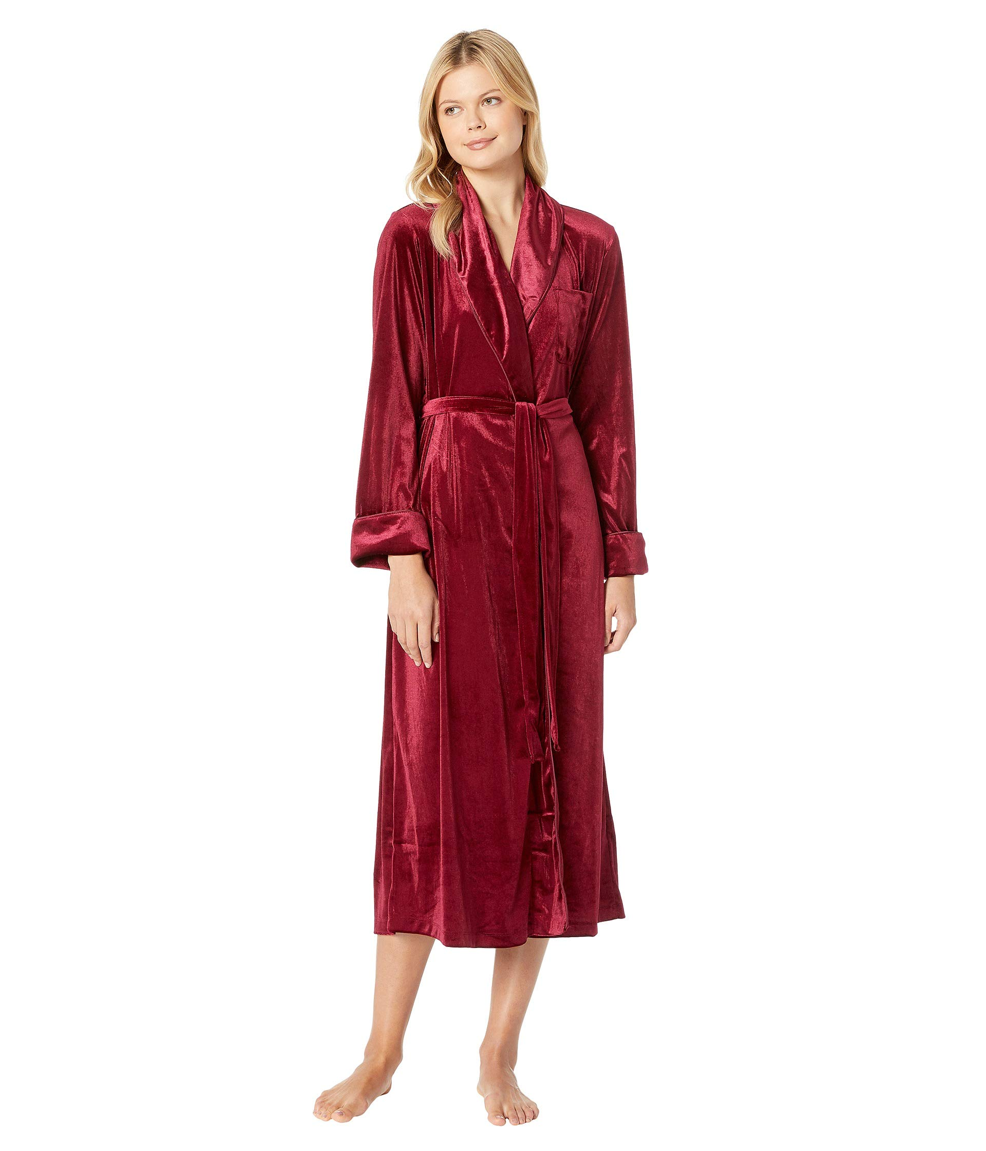 Collar Velvet Long Shawl Ralph Robe Lauren Red wAzTHH