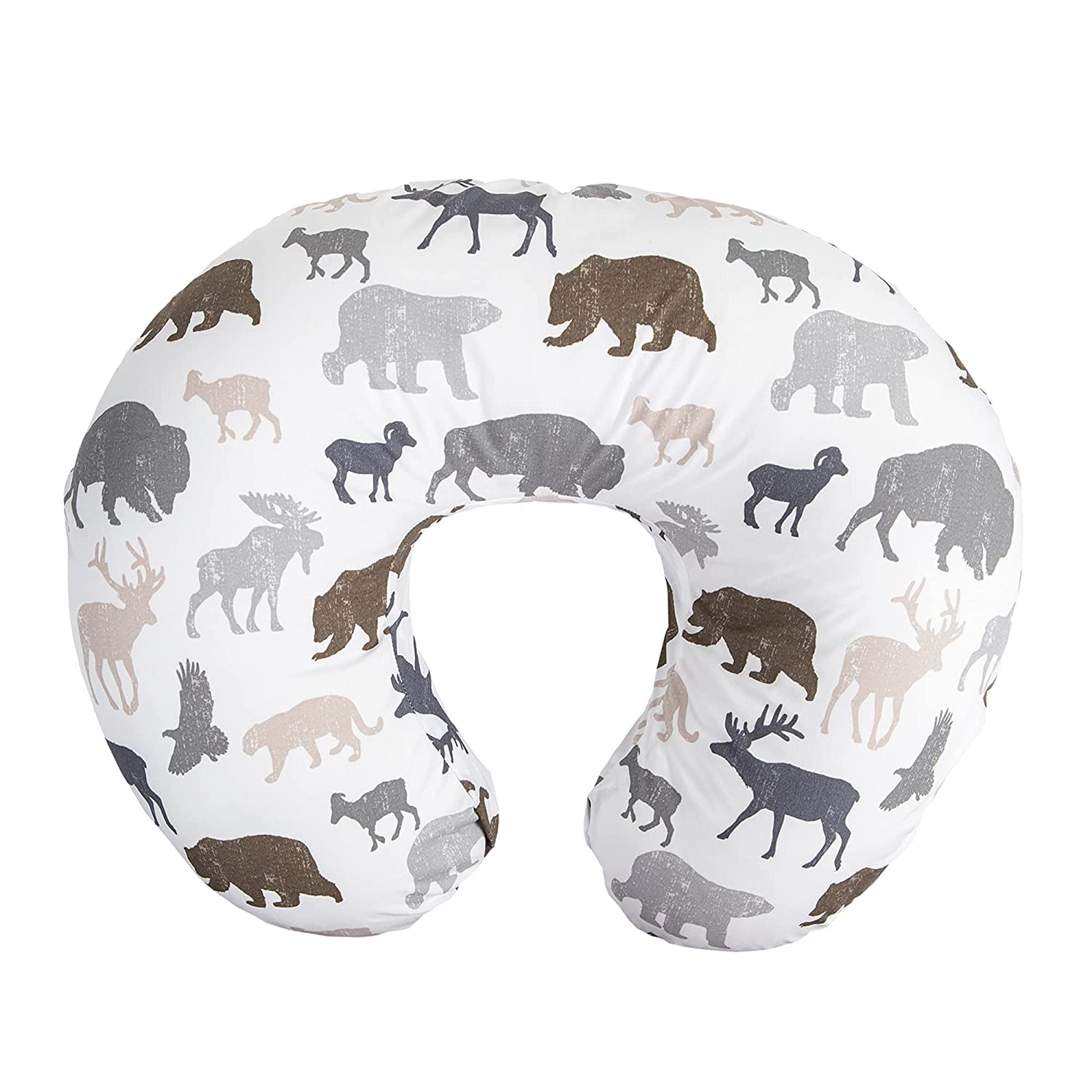 Boppy Nursing Pillow and Positioner—Original | Neutral Wildlife, Forest Animals on White | Breastfeeding, Bottle Feeding, Baby Support | With Removable Cotton Blend Cover | Awake-Time Support