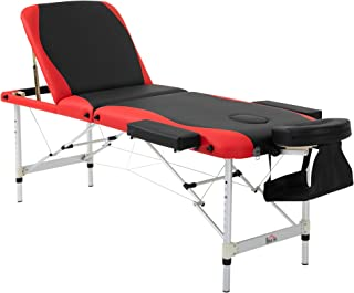 "HOMCOM 73"" 3 Section Foldable Massage Table Professional Salon Spa Facial Couch Bed (Black/Red)"