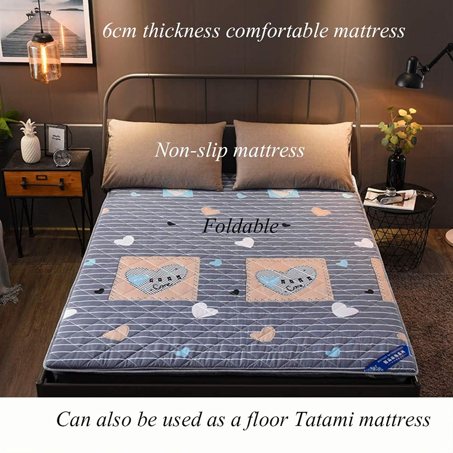 Thicken Floor Futon Mattress mat, Foldable Double Sides Durable Tatami Sleeping mat Pad Bed roll for Student Dormitory Home-B 150x200cm(59x79inch)