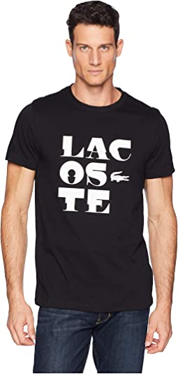 Sport Short Sleeve Tech Jersey T-Shirt w/ Lacoste Word Play