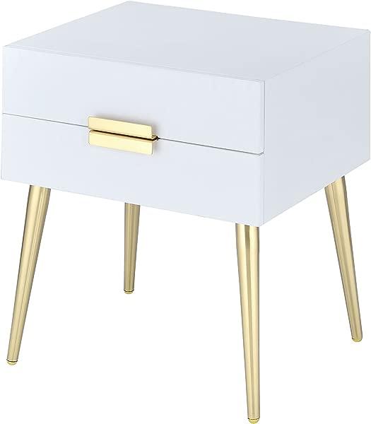 Acme Furniture 84496 Denvor End Table White Gold