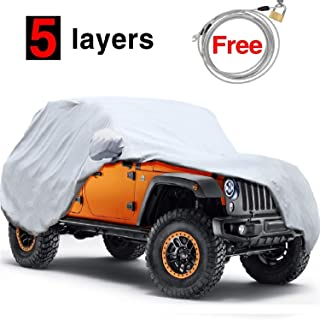 KAKIT Jeep Wrangler Cover 5 Layers Jeep Cover 2 Door Waterproof for TJ, CJ, YJ, JK 1987-2017 Windproof All Weather Protection with Anti-Theft Lock