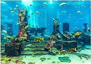 koulate Underwater Poster Fish Tank,Wall Decoration Underwater City Ruins Aquarium Poster PVC Coral Aquarium Background Sticker (5#)