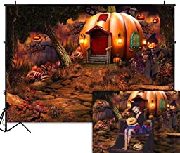 Funnytree 7x5FT Halloween Pumpkin House Photography Backdrop for Children Dress Up Party Fairy Tale Forest Autumn Night Background Photo Booth