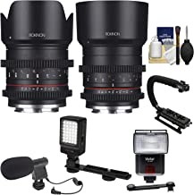 Rokinon 21mm T/1.5 & 50mm T/1.3 High Speed Cine Lenses (for Video Fujifilm X Cameras) with LED Video Light + Diffuser Dish + Microphone + Stabilizer + Kit