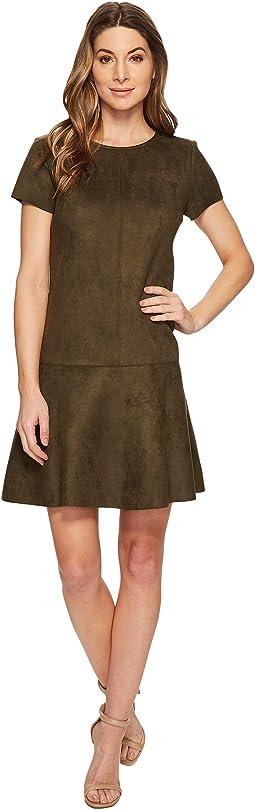 Short Sleeve Suede Scuba Flared Hem Dress