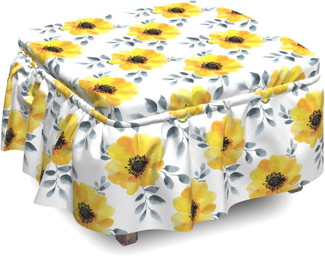 Cheap mail Ranking TOP20 order sales Ambesonne Floral Ottoman Cover Watercolor Blossoms Pie Poppy 2