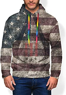 Men's American Flag Assassin Creed Sportswear Fleece Hooded Sweatshirt Pullover Hood Hoodie Long Sleeve Heavyweight