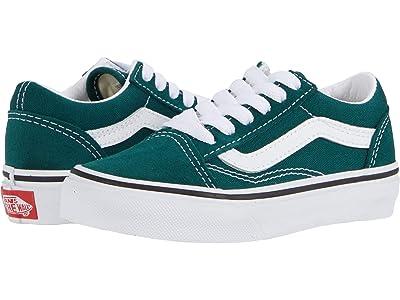 Vans Kids Old Skool (Little Kid) (Bistro Green/True White) Kids Shoes