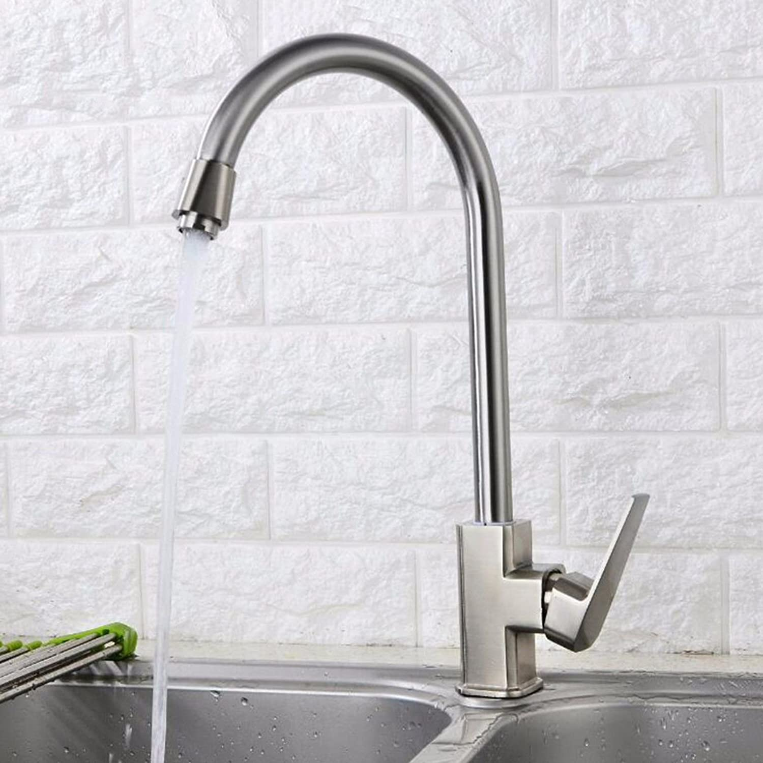 MulFaucet Brushed Square Kitchen Faucet Sink hot and Cold Sink Faucet Copper Valve Body redatable Faucet