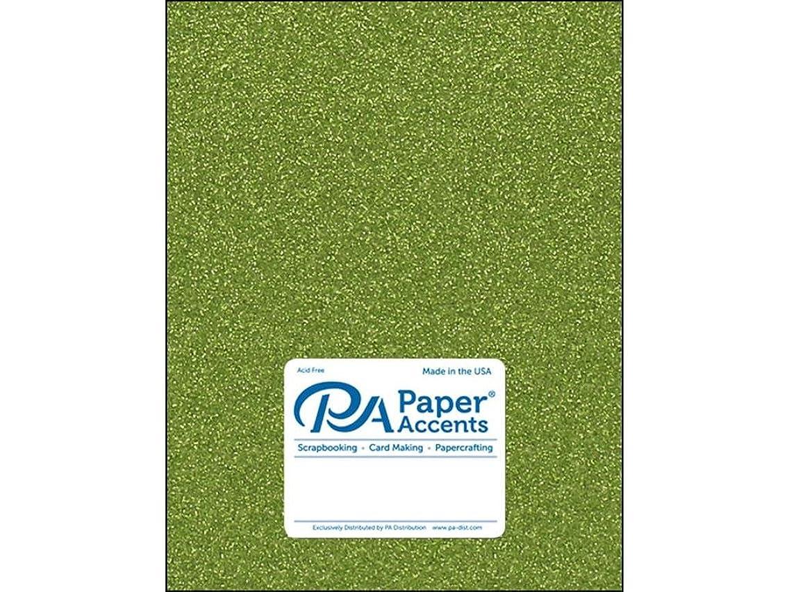 Paper Accents 85lb Olive Green 5pc Cdstk Glitter 8.5x11 OliveGren