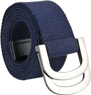 Faleto Canvas Web Belt Double D-ring Buckle Military Style Plain Belts for Men