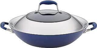 Anolon 84618 Advanced Hard Anodized Nonstick Stir Fry Wok Pan with Lid, 14 Inch, Indigo Blue