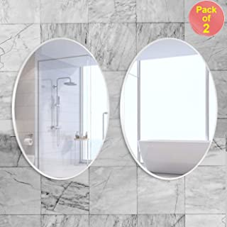 Art Street Oval Mirrors -17 x 23 inch Elliptical Wall Mirror HD Vanity Make Up Mirror Tiles for Wall Decor-Pack of 2