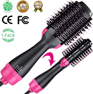 Volumizer Hair Dryer & Hot Air Brush & Curly Hair Comb 3 in 1 with Straightening, Curling, Fast Drying, using Negative Ion to protect hair and skin, for Home and Salon & lover's present