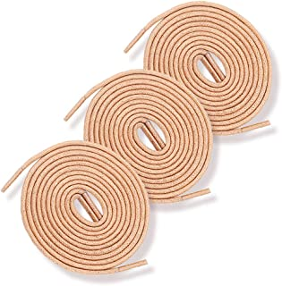 Round Waxed Shoelaces 3 pairs-Leather Shoe Laces for Oxford Shoes Boots
