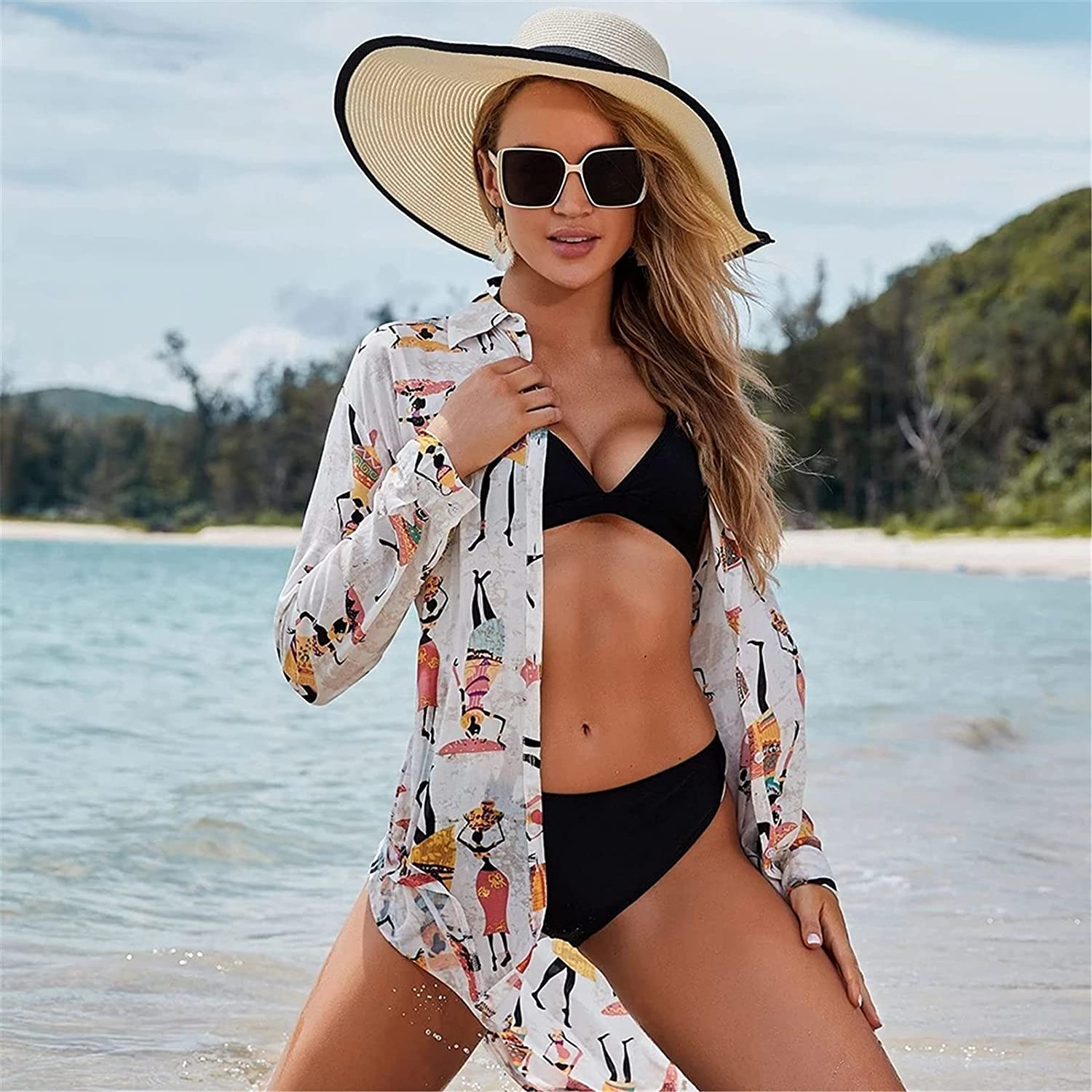 Beach Cover Up Sexy Bikini Cover Up Women Beach Cover Up Long Sleeve Blouse Outer Sunscreen Cover Ups Multi-purpose (Color : White, Size : One size)