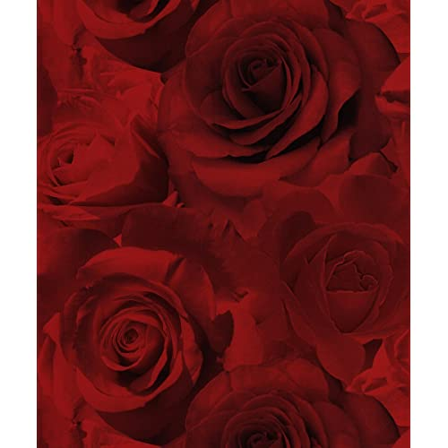 Red Floral Wallpaper Amazon Co Uk