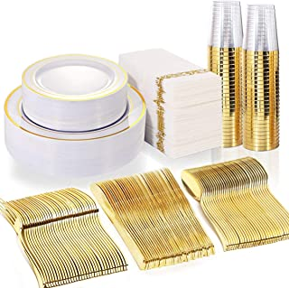 WDF 50 Guest Gold Plastic Plates with Disposable Cutlery& Gold Plastic Cups-Party Plates and Napkins sets for Wedding&Parties