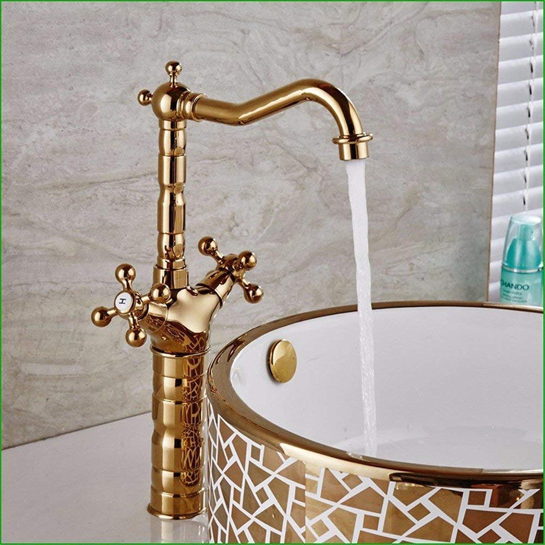 QXHELI Kupfer verGoldet Badezimmer Waschbecken Wasserhahn