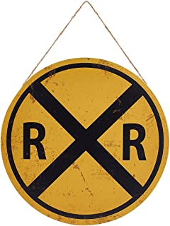 Juvale Rail Road Crossing Symbol Sign - Metal Tin Traffic Sign Wall Decor, Perfect Cafes, Restaurans, Party and Home Interior Decoration, 11.8 x 11.8 Inches