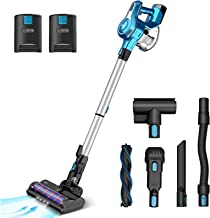 INSE Cordless Vacuum Cleaner with 2 Batteries, Up to 80min Runtime, Stick Handheld Vacume Super Powerful Lightweight Quiet...