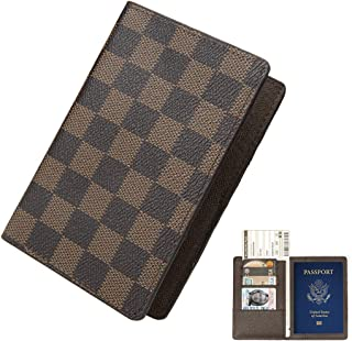 Multi-Purpose Blocking Travel Passport Wallet Holder Cover Case Leather RFID Travel Organizer Card Holder (Passport Brown)