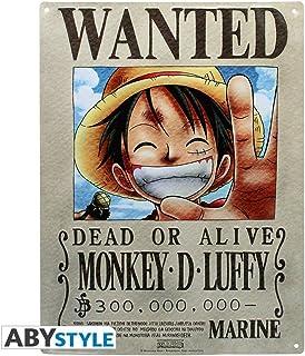 One Piece–3D Cartel de Chapa–Wanted Luffy Luffy–38x 28cm