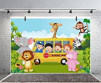 8x12 FT Vinyl Photography Background Backdrops,Blue Hippie Bus with Monkeys Giraffes Balloons Surprise Box Artwork Print Background for Child Baby Shower Photo Studio Prop Photobooth Photoshoot