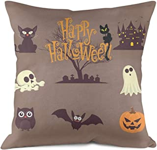 Heart Wolf Happy Halloween Pumpkin Carving Throw Pillow Covers 45x45cm Allergy Control Durable Breathable Pillow Cover Classic Eco-Friendly Sofa Cushion Pillowcases