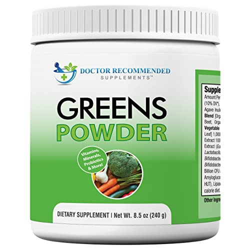 Doctor Recommended Greens Powder – Whole Food Nutritional Supplement – Probiotics and Digestive Enzymes – Berry Taste – Gluten-Free, Non-GMO, Dairy-Free, Caffeine-Free, No Artificial Sweeteners
