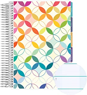 12 Month A5 Spiral Coiled Horizontal Weekly Life Planner/Agenda (July 2021 - June 2022). Mid Century Circles Flexible Cove...
