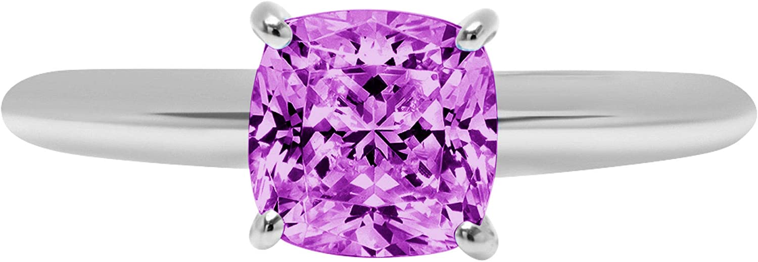 1.95 ct Brilliant Cushion Cut Solitaire Flawless Simulated CZ Purple Alexandrite Ideal VVS1 4-Prong Engagement Wedding Bridal Promise Anniversary Designer Ring Solid 14k White Gold for Women