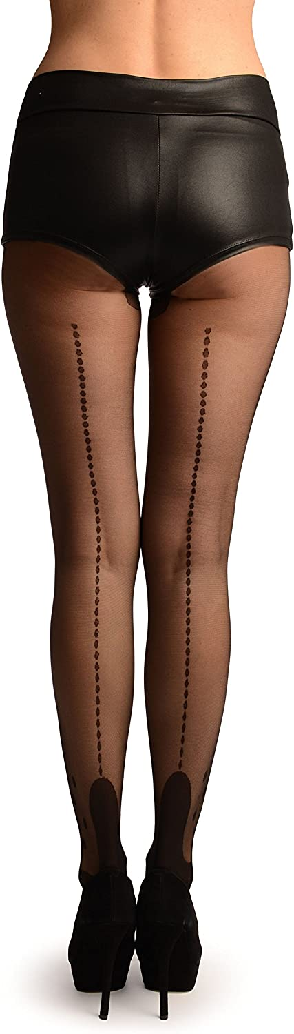 Black With Dotted Seam & Ankles Tights - Pantyhose (Tights)