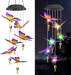 MuiSci Solar Wind Chime,Butterfly Wind Chime LED Wind Chimes,Outdoor Waterproof Butterfly Lights with Bells, Color Changing Solar Lights for Garden /Yard/Home Decor,mom Gifts Grandma Gifts (Purple)