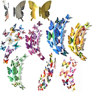 LuLyL 108 st 3D fjäril väggklistermärken flerfärgade hantverk fjärilar magnetiska dekaler för barnrum dekoration