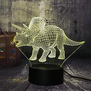 Lámpara de luz nocturna 3D Dinosaurio Jurassic World Triceratops 3D LED Luz de noche Escritorio Lámpara de sueño Creativo Niños Juguete Dormitorio Decoración del hogar