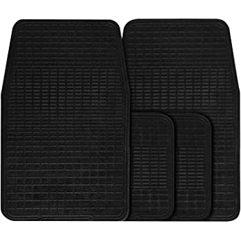 UNIVERSAL CAR VAN TAXI TRUCK 4 PIECE BLACK CAR FLOOR MAT SET
