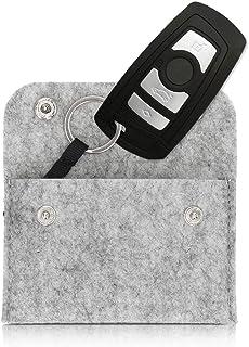 kwmobile Universal Autoschlüssel Hülle   Filz Schutzhülle Schlüsselhülle   Schlüssel Cover mit Schlüsselanhänger Hellgrau