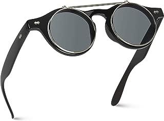 Flip up Cyber Steampunk Round Circle Retro Sunglasses