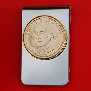 US 2007 Presidential Dollar BU Unc Coin Stainless Steel Gold Silver Two Tone Money Clip NEW - George Washington (1789−1797 Years Served)