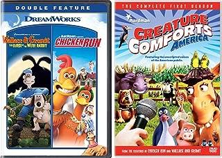 Animated Creatures Chicken Run + Aardman Wallace & Gromit Curse of the Were-Rabbit DVD Movie & Creature Comforts America Talking Animals 2 Pack