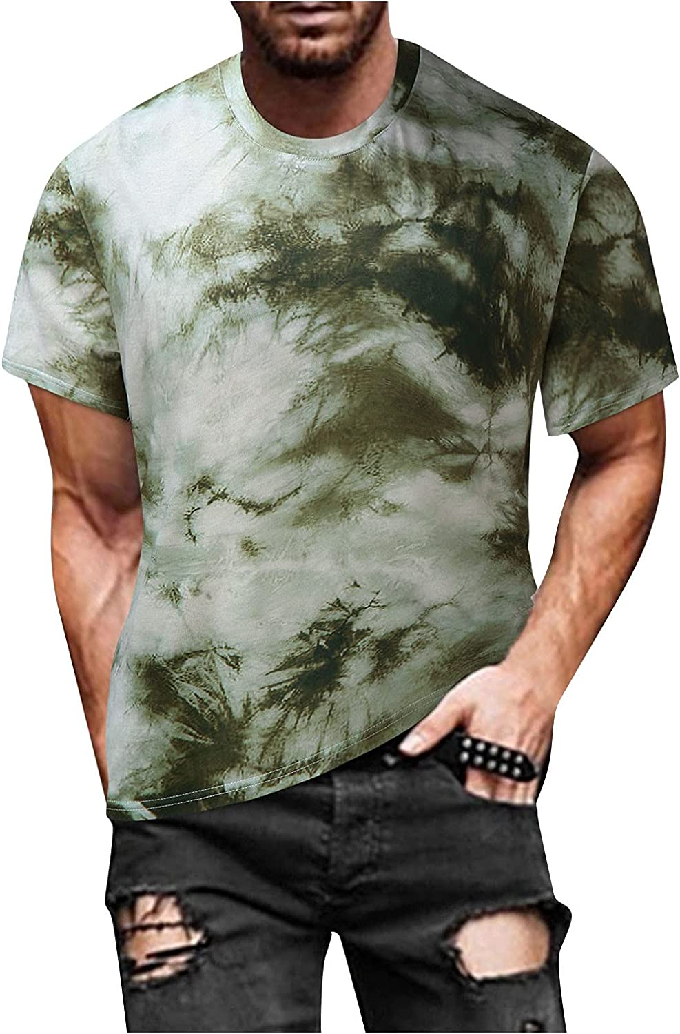 Maryia Mens Tie Dye Spiral Streak T-Shirts Hip Hop Short Sleeve Hipster Summer Loose Fit Cool Tee Tops