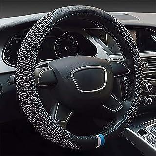 BUSUANZ Universal Auto Lenkradhülle Abdeckung Lenkradbezug aus Mikrofaser Leder 38CM / 15'' Anti Rutsch Atmungsaktiv Lenkradabdeckung Lenkradschoner