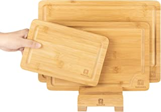 SUPJOYES Cutting Boards for Kitchen, Premium Bamboo Cutting Board Set with Juice Groove, Bamboo Wood Cutting Boards with S...