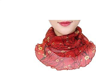Nethaniah Women UV Neck Gaiter Seamless Adjustable Dust Face Scarf Bandana Silk Chiffon Floral