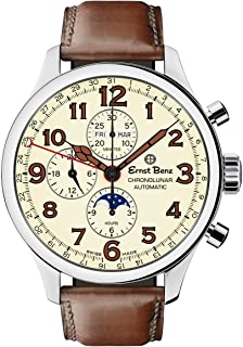 Chronolunar Automatic Swiss Made Chronograph 47mm Brown Leather Band Men's Watch GC10318