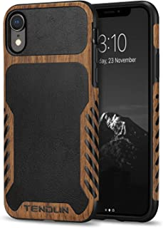 TENDLIN Compatible with iPhone XR Case Wood Grain with Leather Outside Design TPU Hybrid Case