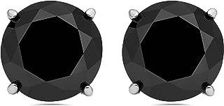 3 Ct Round Black Diamond 14K White Or Yellow Gold Studs Earrings Basket Setting